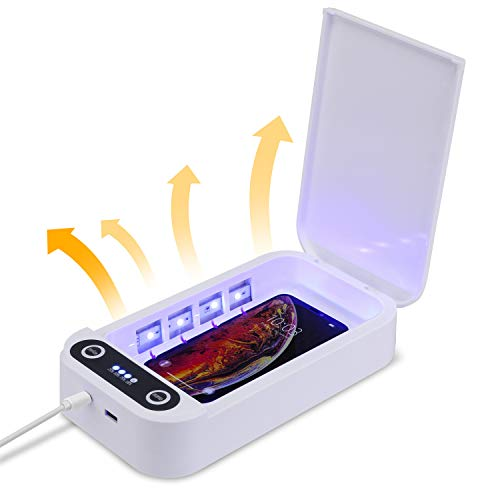 ENJOHOS Limpiador desinfectante Multifuncional teléfono Caja de esterilización UV con Cargador USB,...