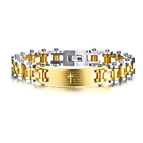 Aruie - Pulsera de acero para hombre, con placa de cruz bible, diseño española, cadena de bicicleta, moto, oro y plata, bicolor
