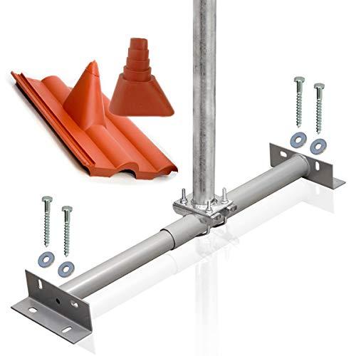 PremiumX Dachsparrenhalter Montage Set für Satellitenschüssel Sparrenhalter 1m SAT Mast Frankfurter-Pfanne Tülle rot