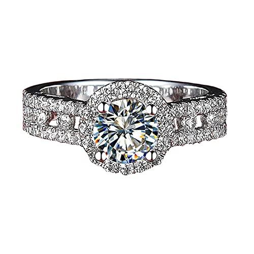 Anillo de boda hueco con diamantes de imitación de moissanita de 1 quilate para niñas