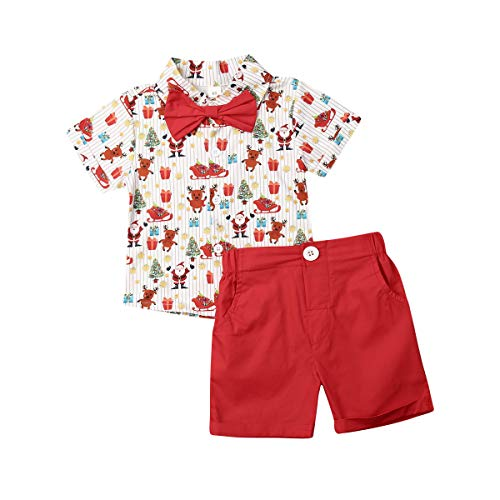 MA&BABY Baby Christmas Boys Clothes Set Gentleman Bow Tie Shirts+Pants 2pcs Red Outfits Set Deer Wedding Party (Short-Red, 4-5 Years)