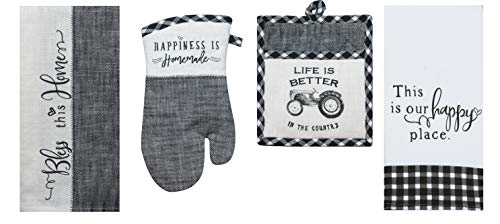4 Piece Black and White Farmhouse Country Kitchen Linen Set - 2 Towels  Oven Mitt and Pocket Pot Holder
