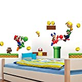 Build a Scene Peel and Stick Super Mario Wall Decal 3D Wall Stickers Removable PVC Cartoon Wall Sticker for Kids Bedroom Living Room Playroom Wall Décor