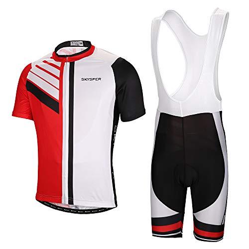 SKYSPER - Un Set Moda Maglia Ciclismo Jerseys per Uomo Maniche Corte Tuta Estiva + Pantaloni Corti da Ciclismo Abbigliamento Ciclismo Sportivo Professionale Traspirante e Comodo