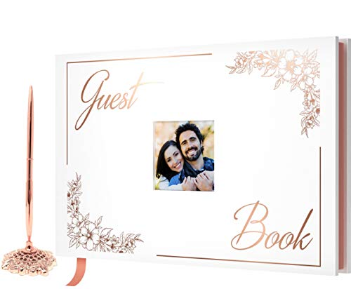 V-COSTA Wedding Guest Book - Polaroid Photo Guestbook | Includes Rose Gold Pen | Birthday, Baby Shower - Rose Gold Foil (Rose Gold)