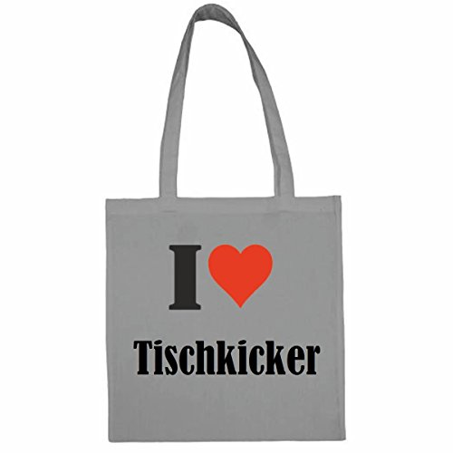 Tasche I Love Tischkicker Größe 38x42 Farbe Grau Druck Schwarz
