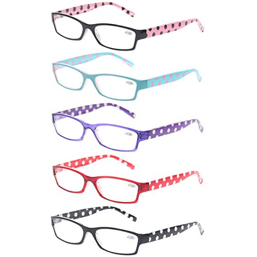 Reading Glasses 4 Pack Great Value Ladies Readers Quality Fashion Glasses for Women (5 Pack Mix Color, 3.00)