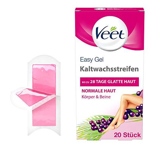 Veet Kaltwachsstreifen mit Easy-Gelwax Technology – Geeignet für normale Haut – Anwendung für Beine & Körper – Bis zu 4 Wochen seidig-glatte Haut – 10 x Doppelstreifen à 20 Anwendungen