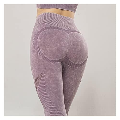 JBIVWW Conjuntos de Yoga de Malla sin Costuras de para Mujer, Mallas de elevación de glúteos, Sujetador Deportivo de Licra para Entrenamiento y Fitness (Colore : Purple Leggings, Dimensioni : L)