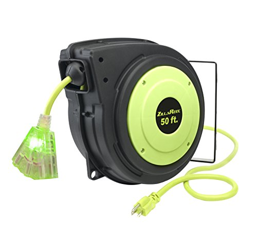 Flexzilla E8140503 ZillaReel Retractable, 14-3 AWG SJTOW, 50', Grounded Triple Tap Outlet Electric Cord Reel
