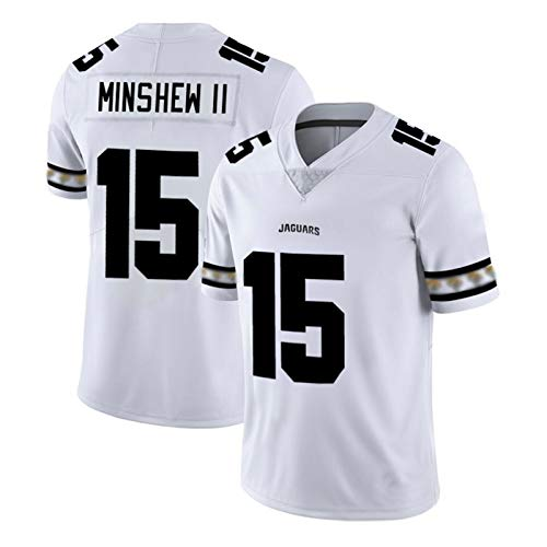 Minshew Rugby-Trikot, Jaguars #15 USA-Fußball-Shirt, Herren Team-Logo, Coole Edition Trikots, 2021 Neu bestickter Stoff Jersey M