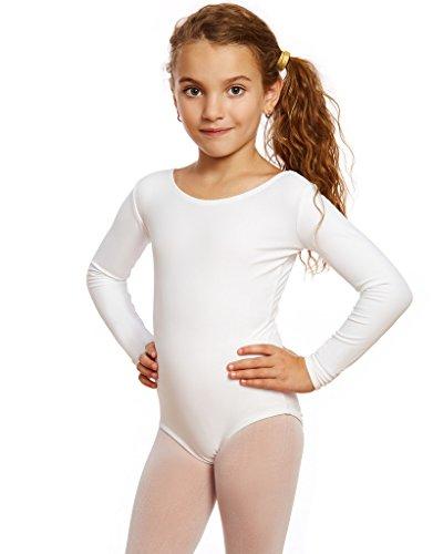 Leveret Girls Leotard White Long Sleeve Toddler (2-4)