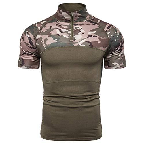 Los hombres al aire libre táctica militar camisa de manga larga de secado rápido Camo combatir la pesca Trekking Escalada Ejército de la camiseta Ropa Training ( Color : Army Green 2 , Size : XL. )