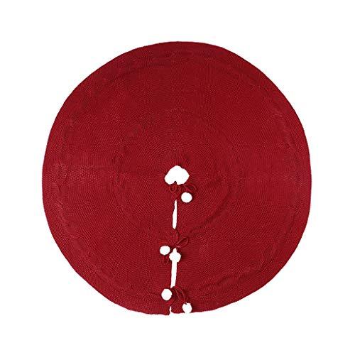 Sayla Weihnachtsbaum-Rock, Gestrickt Baumrock mit weißem Schneeball, Großer roter Baumrock für Weihnachtsdekorationen, Urlaub, Dicker Weihnachtsbaum Weihnachtsdekoration 43 x 19 cm (Wein)