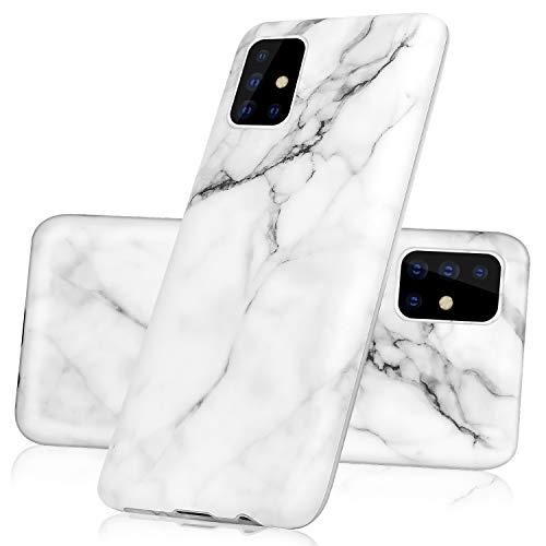 Vogu'SaNa Kompatible für Handyhülle Samsung Galaxy A51 Hülle Marmor Silikon Matt Marble Muster Case Cover Weiche Tasche Dünn Schutzhülle Handytasche Skin Softcase Schale Bumper TPU Etui-Weiß Grau