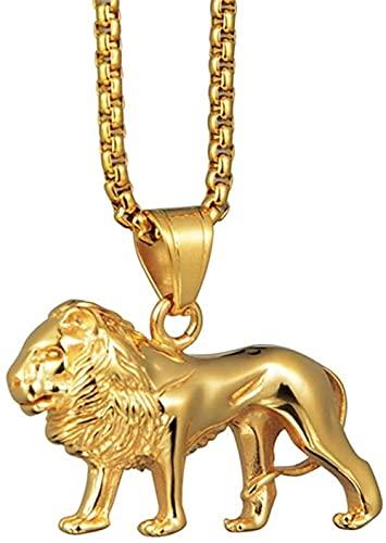 NC134 Collar con Colgante de Animal León de Acero Inoxidable Hip Hop Color Dorado Collares Largos Cadena para Hombres Mujeres Regalos de joyería 50cm