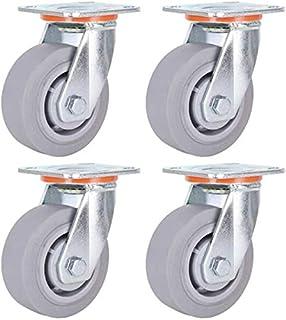 Casters Industriële wielen, draaibaar, 4/5/6/8 inch, stil, rubberen wielen, zware transportwagen, stil, 4 verpakkingen (af...