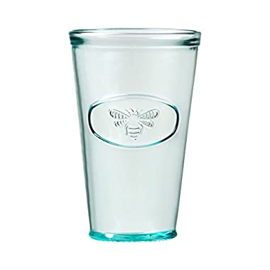 Amici Home, A7AJ714S6R, Bee Relief Hiball Drinking Glass, Recycled Glassware, Made in Italy, Dishwasher Safe, Set of 6, 16 Ounces