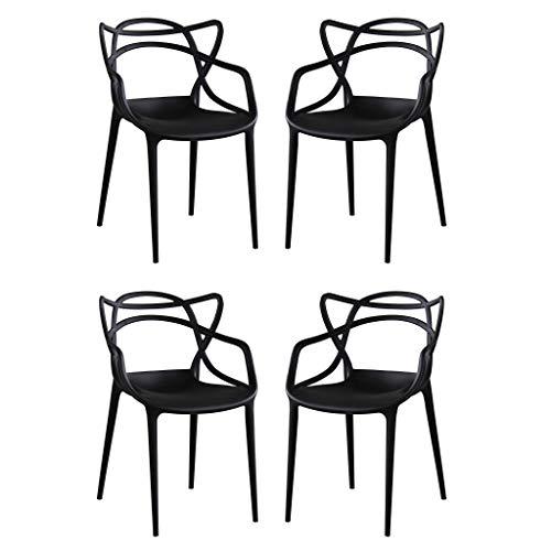 Milani Home s.r.l.s. Set di 4 Sedie in Polipropilene Plastica Nera di Alta qualità di Design per Interno E Giardino Stile Moderno per Sala da Pranzo, Cucina