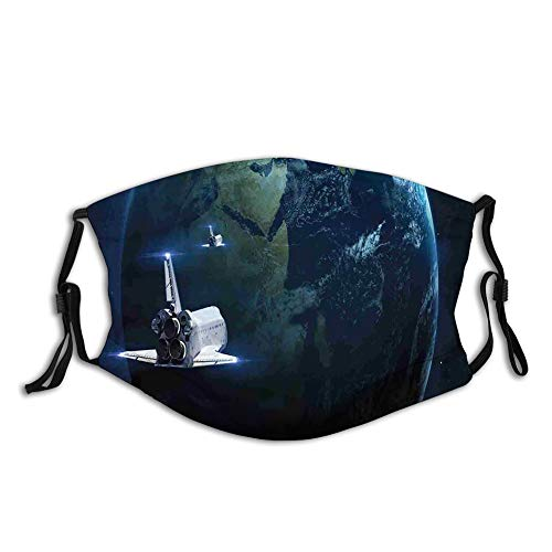 Spaceship Return to Earth Science Fiction World Backdrop Reusable Face Mask Balaclava Washable Outdoor Nose Mouth Cover for Men and Women