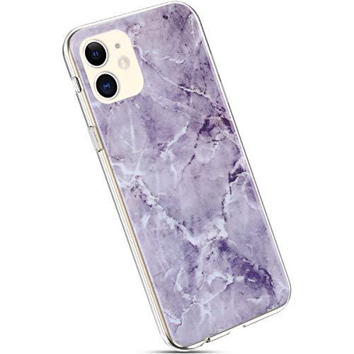 Ysimee Compatible avec iPhone 11 Coque Marbre Motif en Silicone Texture de Pierre Géométrique Marble Case Ultra-Mince Doux Flexible Gel Coque de Téléphone Anti-Choc Étui de Protecteur,Marbre#4