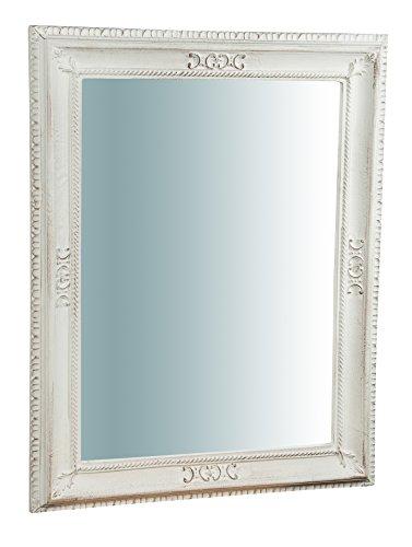 Biscottini Specchio Specchiera da parete in VERTICALE o ORIZZONTALE stile Shabby in legno con finitura bianca anticata misure L67xPR4,5xH87 cm produzione Artigianato Fiorentino Made in Italy