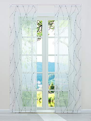 ESLIR Schiebegardinen Voile Flächenvorhänge Transparente Schiebevorhang Set 2er Gardinen mit Klettband Vorhang mit Wellen Muster Grau BxH 57x225cm 2 Stück