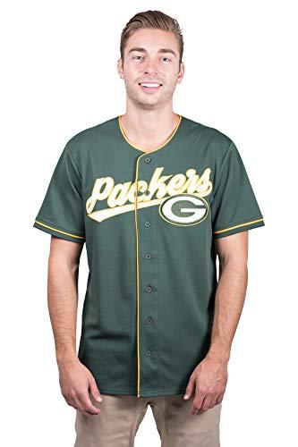 Ultra Game NFL Green Bay Packers Mens Mesh Baseball Jersey Tee Shirt, Team Color, Medium