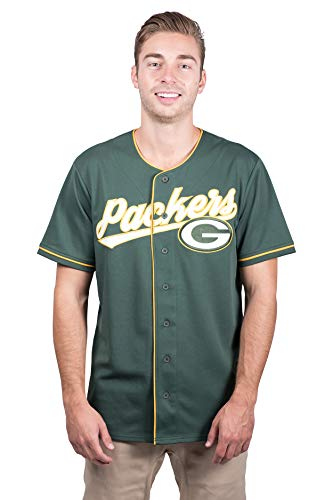 Ultra Game NFL Green Bay Packers Mens Mesh Baseball Jersey Tee Shirt, Team Color, Large