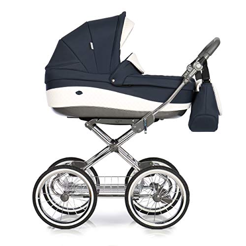 KINDERWAGEN BUGGY KOMBI KINDERWAGEN KLASSISCHER RETRO NOSTALGIE ROAN EMMA + XXL ZUBEHÖR PAKET (E-88 Navy White Leather, 2IN1)