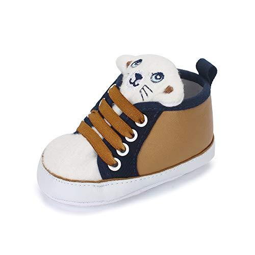 LACOFIA Baby Jungen Sneakers Kleinkind rutschfest Weiche Sohle 3D Tier Krabbelschuhe Braun 9-12 Monate