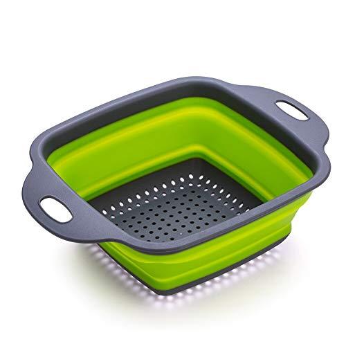2 Stks/Set Opvouwbare Strainer Mand Siliconen Inklapbaar Vergiet Sets Vierkante Vorm Fruit Groente Wassen Drainer Keuken Bask