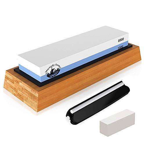 Marandy Farms Whetstone Knife Sharpening Stone - 2 Sided Professional Waterstone - Kit + Accessories - 1000/6000 Grit - Nonslip Bamboo Base + Ceramic Angle Guide, Flattening Stone & Video Instruction