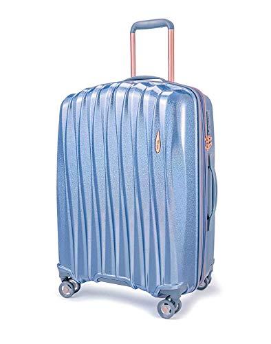 ABISTAB Verage Hartschalen-Koffer Glitter (L-28-76×51×31cm) 106-127 Liter erweiterbar, Blau, 4 Rollen S-PET Trolley, TSA-Schloss integriert