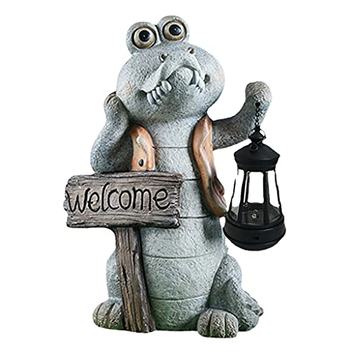 Prettyia Solar Krokodil Statue LED Laterne Licht Lampe Skulptur Home Patio Dekor
