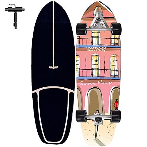 ZBYL Cruiser Skateboard Adulto Completo, Monopatin de 7 Capas Arce Canadiense con rodamientos ABEC-7 Surfskate Carver Longboard para Principiantes Adolescentes Niños, como Regalo de Cumpleaños