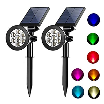 Solar spotlights outdoor 7 led multi color Solar Garden Lights for the patio law garden (changing & fixed color) 2 pack