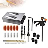 Pocket Hole Jig Drilling Kit, Hole Screw Jig Dowel Drill Joinery Kit for Carpenters Woodwork Guides Joint Angle Tool Oblique ​Hole Locator with 6/8/10mm Adapter and Drilling Bits Jig Clamp (37pcs)