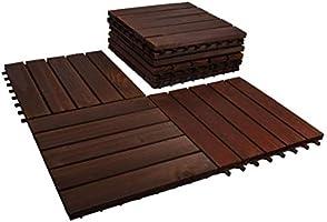 بلاط تزيين ارضيات خشبي من ياتاي، مقاس 30×30×2 سم، يستخدم لارضيات المكتب والمنزل والحديقة ويمكن ان تركبه بنفسك - 9 قطع
