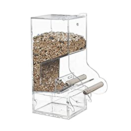 Automatic Bird Feeder Acrylic Bird Seed Feeders Bird Feeder Automatic Cage Seed Catcher Tray Food Dish for Parrot Lovebirds Cockatiels Food Container Perch Cage