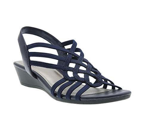 Roma Stretch Wedge Sandal, Navy Stretch Elastic/Calfeline, 8.5 B(M) US