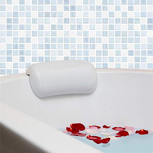 Almohada Bañera con 2 Ventosas Antideslizante, Waterproof Bath Headrest Bathtub Spa Pillow Waterproof, Ergonomica Impermeable Almohada Spa Cojín de Baño para Adulto, Reposacabezas para Baño (Blanca)