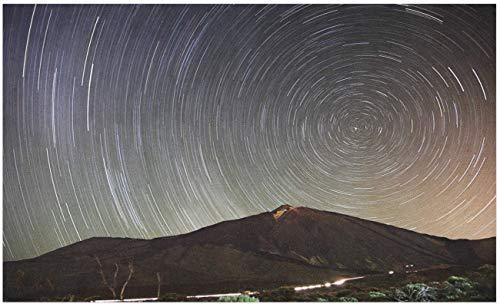 Felpudo de larga exposición, rastro de estrellas en la noche con paisaje de montaña Campo español Tenerife, tapete decorativo de poliéster con respaldo antideslizante, multicolor , 40 * 60cm