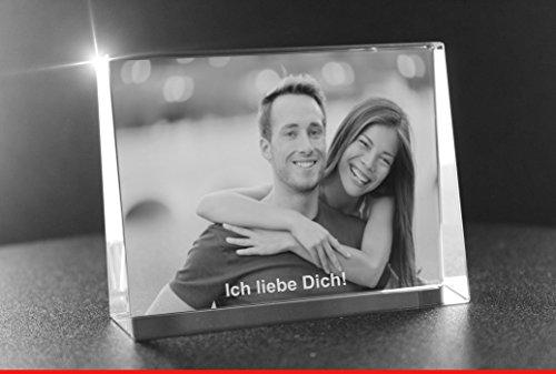 VIP-LASER 2D Gravur Glas Kristall Flachglas selbststehend Querformat mit Deinem Partner oder Liebesfoto. Dein Wunschfoto für die Ewigkeit Mitten in Glas! Groesse XL = 105x80x30mm