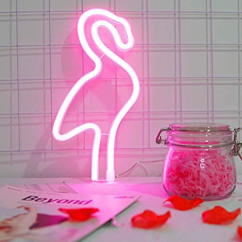 Flamenco rosado luz de neón de la lámpara del flamenco señales de neón luces de la noche LED para la decoración de lámparas de batería/USB Operado luces LED para decoración de paredes niñas Habitac