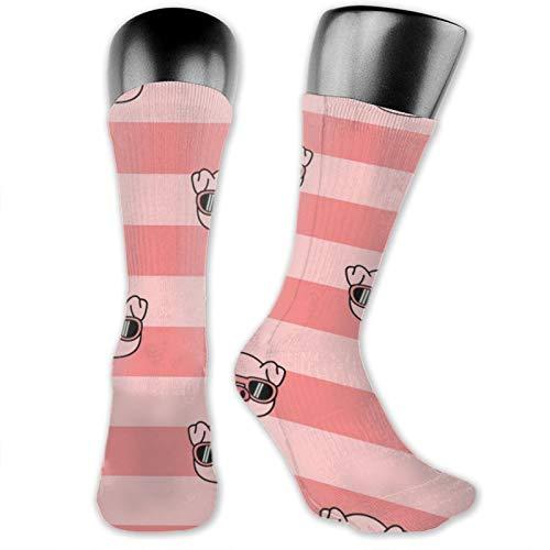 Anime calcetines lindos cerdo con-gafas de sol dibujos animados suave de secado rápido transpirable calcetines deportivos unisex de la tripulación calcetines de 39,7 cm