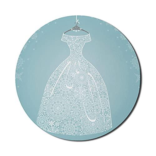 Bridal Shower Mouse Pad für Computer, Brautkleid mit floralen spitzenartigen Design Blue Snowflake Hintergrund, rundes rutschfestes dickes Gummi Modern Gaming Mousepad, 8 'rund, hellblau weiß grau