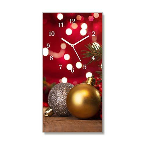 Tulup - Orologio in Vetro da Parete - 30x60cm - Vetro Temperato - Dipinto di Natale - Pittura Immagine Stampa - Bianco - Sfere dell'albero di Natale Decorazioni di Natale