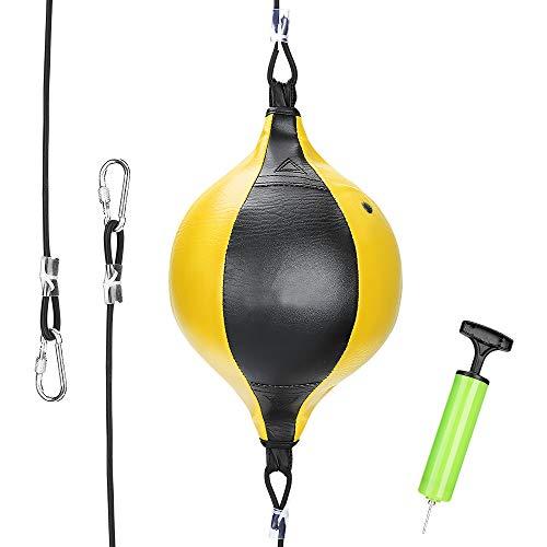 Brynnl Pelota de boxeo con doble extremo de velocidad con bloqueo de anillo, reacciones de velocidad para adultos, mejora el enfoque (amarillo)