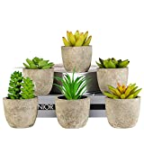 Artificial Succulents Plants Potted, LAERJIN 6 pcs Fake Succulent Faux Aloe Vera Potted Plants with Gray Pots, Mini Realistic Fake Plants with Pulp Pots for Home and Office Decoration